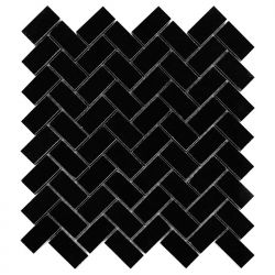 Dunin Black&White Pure Black Herringbone 48 305x305