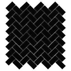 Dunin Black&White Pure Black Herringbone 48 305x305