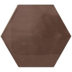 Decus Hexagono Liso Chocolate Brillo 17x15